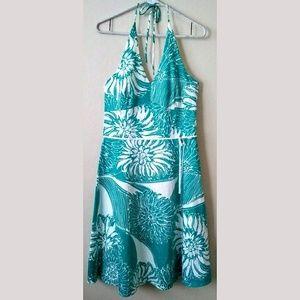 Ann Taylor Floral Halter Dress A Line Midi Lined 8